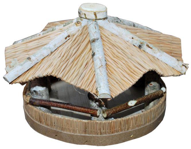 futterhaus vogelhaus aus birkenholz mit strohdach. Black Bedroom Furniture Sets. Home Design Ideas